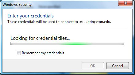 Looking for Credential Tiles freezes up Remote Desktop on